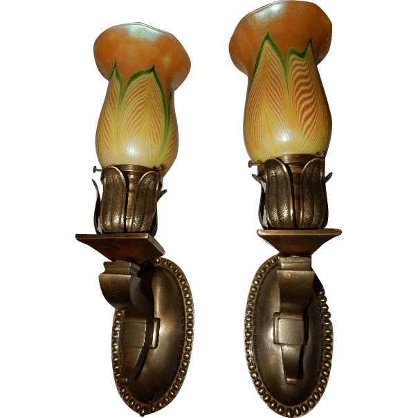 Cast Brass Art Nouveau Sconces with Steuben Pulled Feather