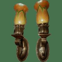 Cast Brass Art Nouveau Sconces with Steuben Pulled Feather ...