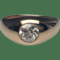 14 Karat Yellow Gold Mens Diamond Gypsy Set Ring from ...