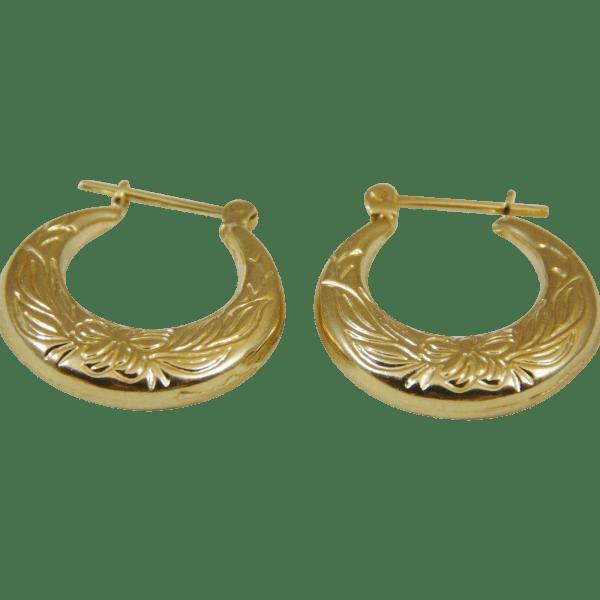Karat Yellow Gold Small Hoop Earrings Edbergjewelry Ruby Lane