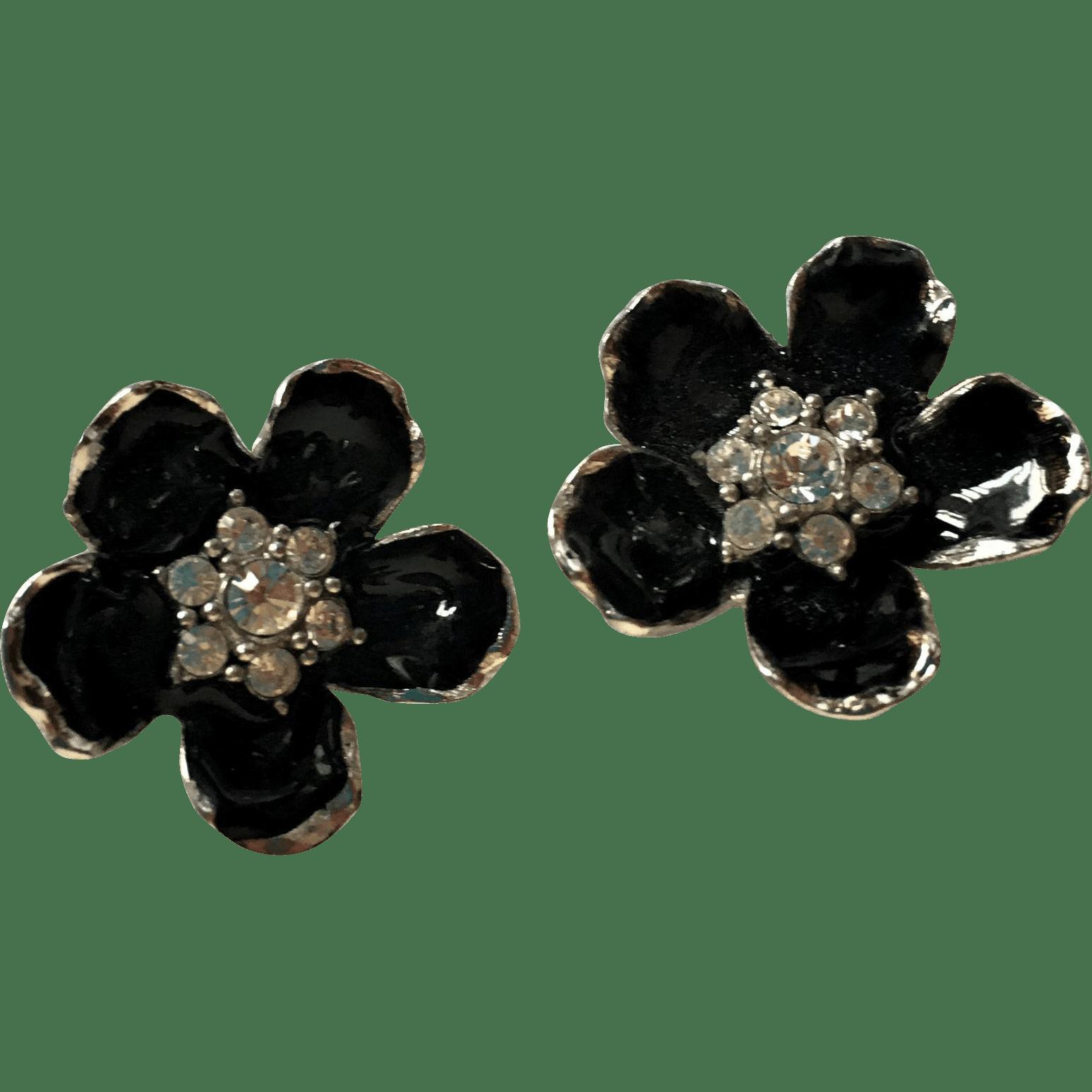Erwin Pearl Black Enamel and Rhinestone Clip Earrings from