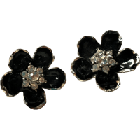 Erwin Pearl Black Enamel and Rhinestone Clip Earrings from