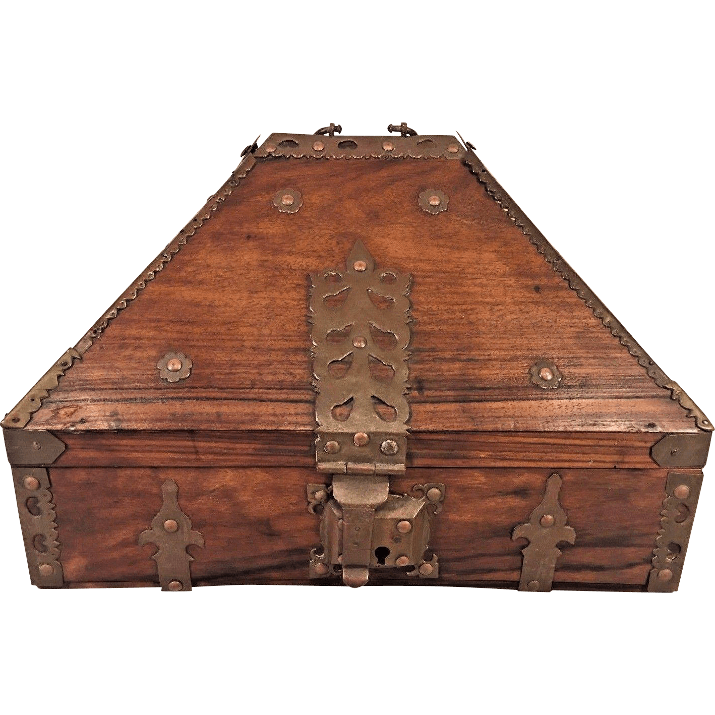 Antique Teak Box With Pointed Dome Drawer Lock