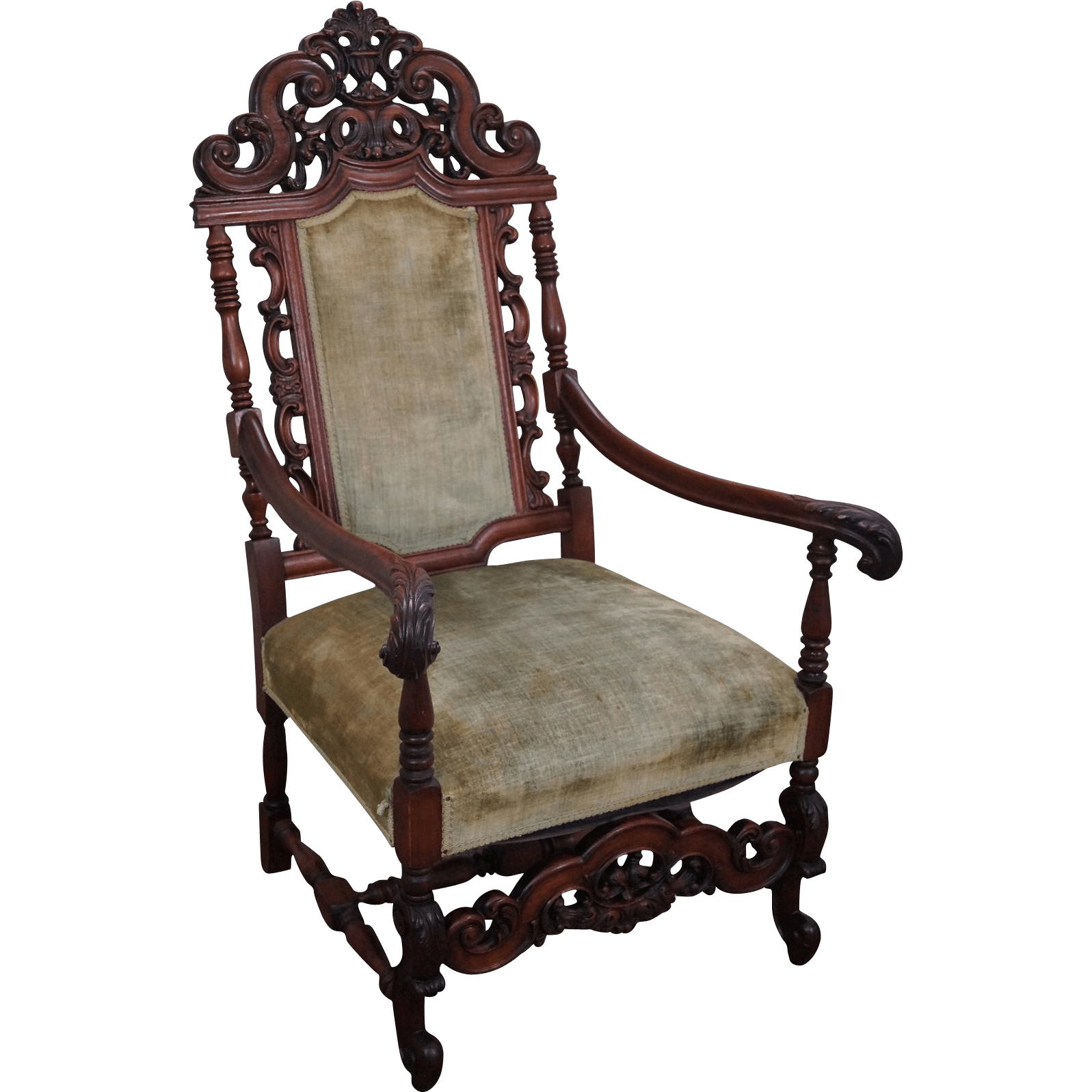 high backed throne chair ruched covers back antique furniture