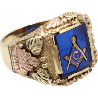 Masonic Ring - Black Hills Gold with Blue Acrylic Center ...