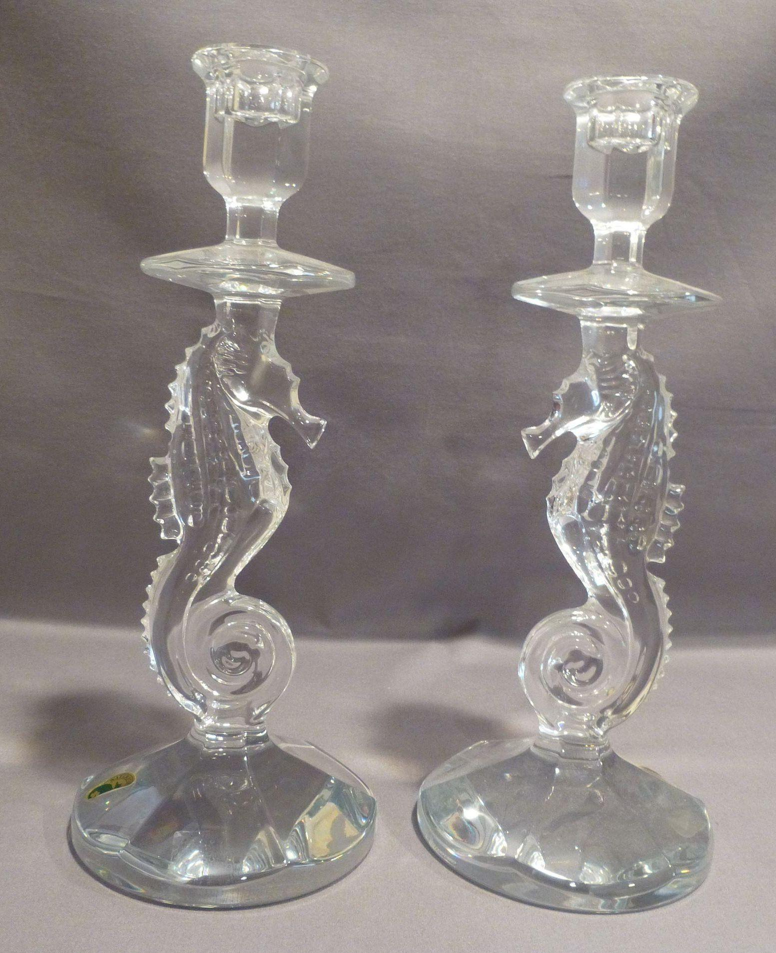 Pair Of Waterford Crystal Seahorse Candlesticks Signed