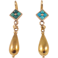 Antique 14k Yellow Gold Turquoise Earrings from ...