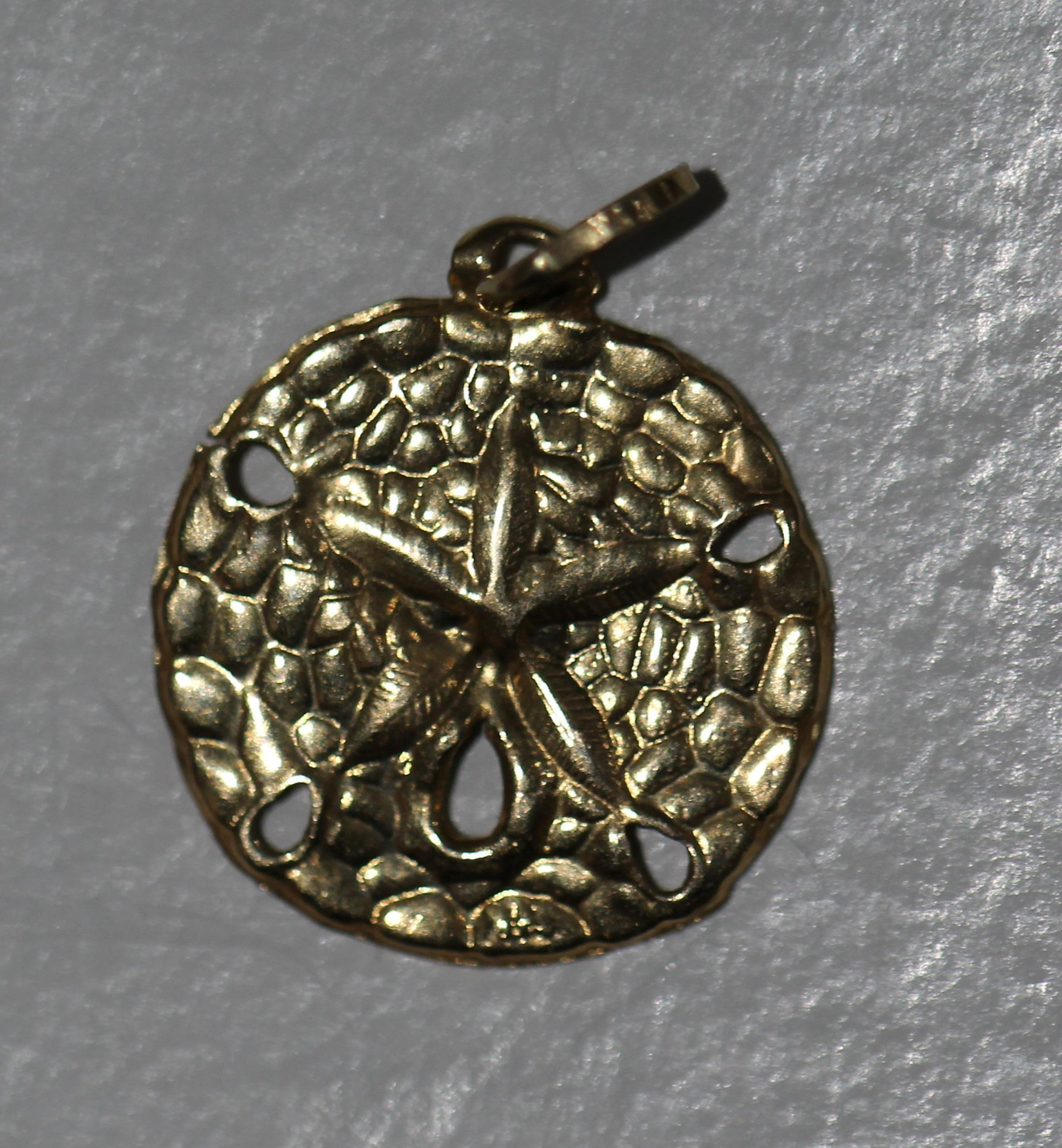 Sand Dollar Pendant Charm In 14k Yellow Gold -and-collection Ruby Lane