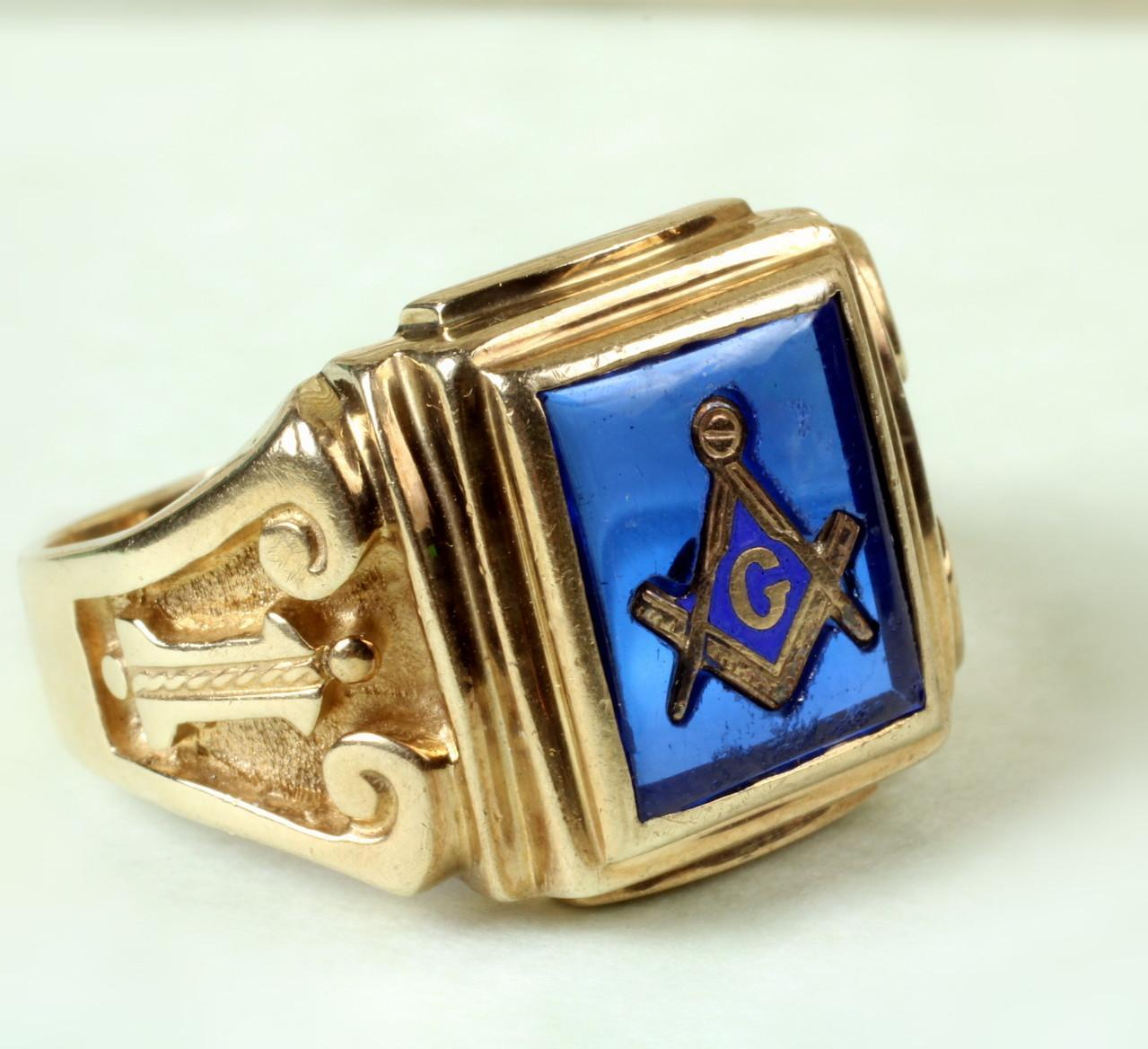 10K Yellow Gold Deco Masonic Ring with Blue Stone from