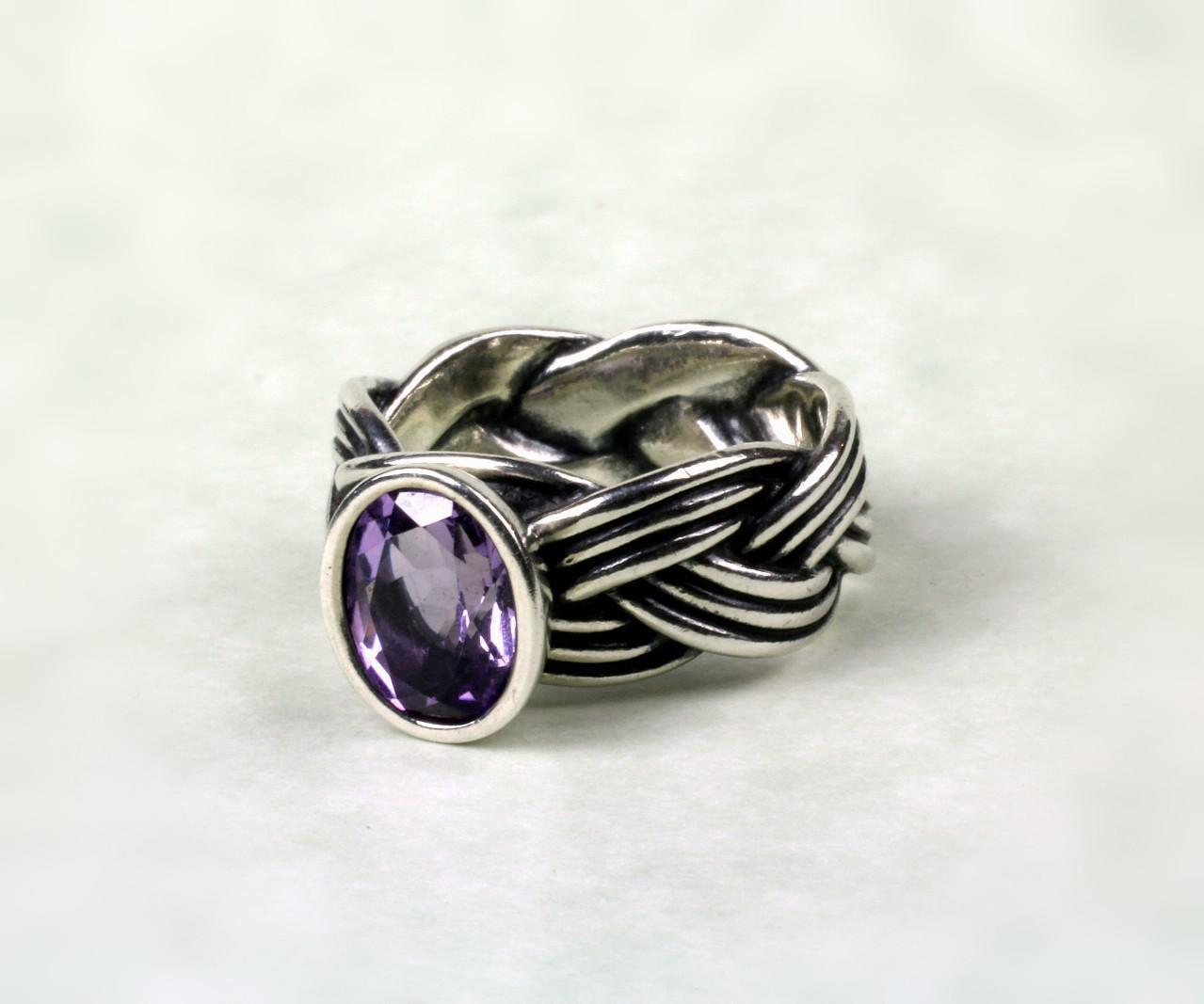 Sterling Pandora Amethyst Ring from goodbee on Ruby Lane