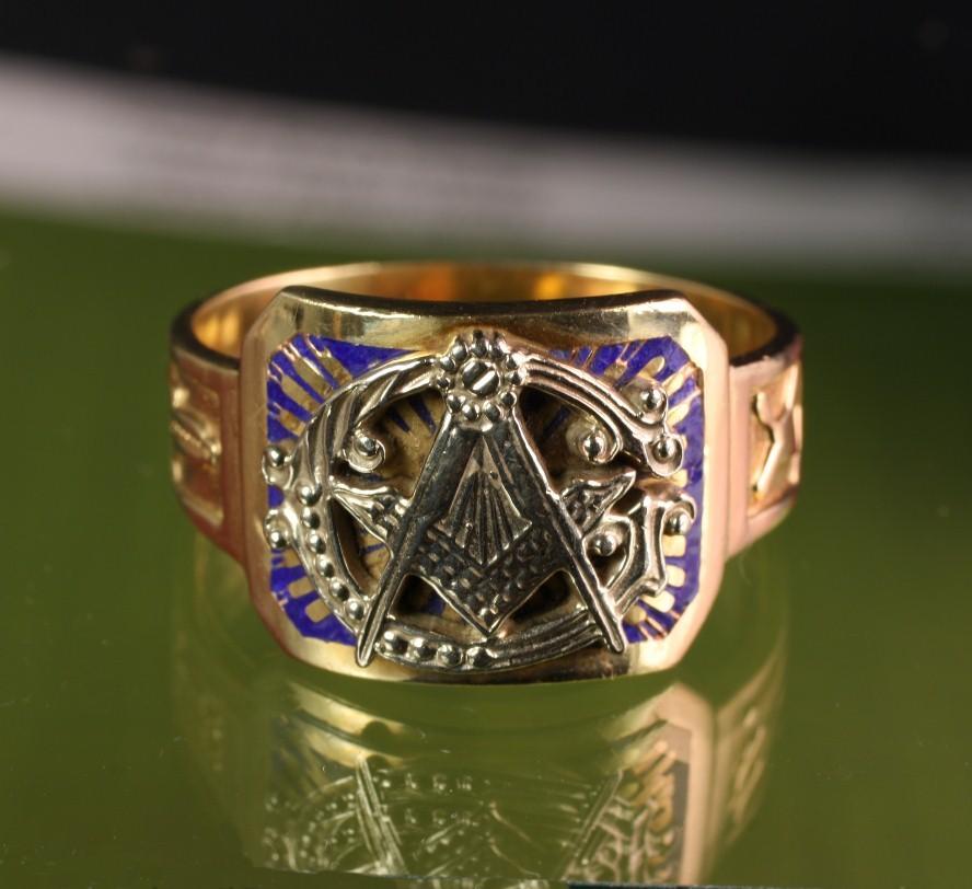 Large 10k Gold Masonic Ring Goodbee Ruby Lane