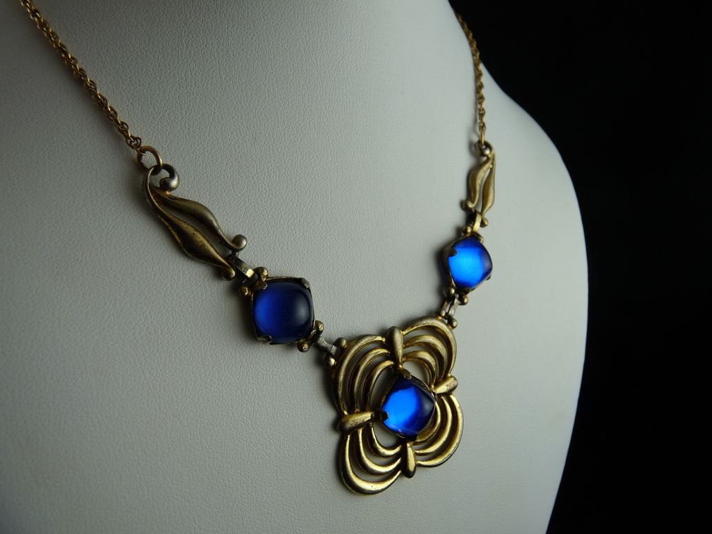 Art Deco Necklace Sterling Silver With Cobalt Blue Stones From Ornaments On Ruby Lane