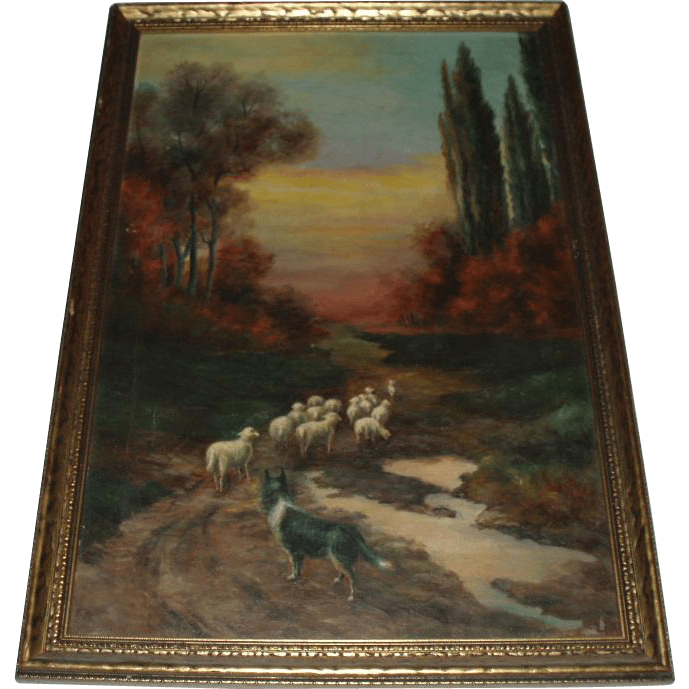 Antique Oil Painting Landscape With Sheep and Dog Signed  In Love With Antiques  Ruby Lane