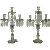 Antique Heisey Candelabra Glass Candle Holders w/ Prisms ...