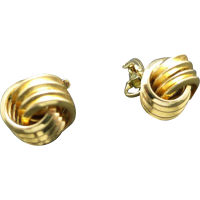 Trifari earrings Gold tone Knots Clip on Classic from ...