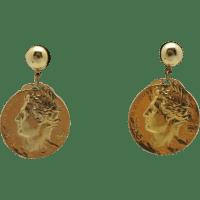 Coin earrings Gold tone Pierced Fake Italian Dangly from ...