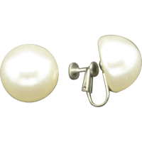 Fake Pearl earrings Silver tone metal clip on from ...