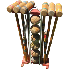 Diagram Of 6 Wicket Croquet Nordyne Heat Pump Wiring Nice Vintage Wooden Set For With Stand From