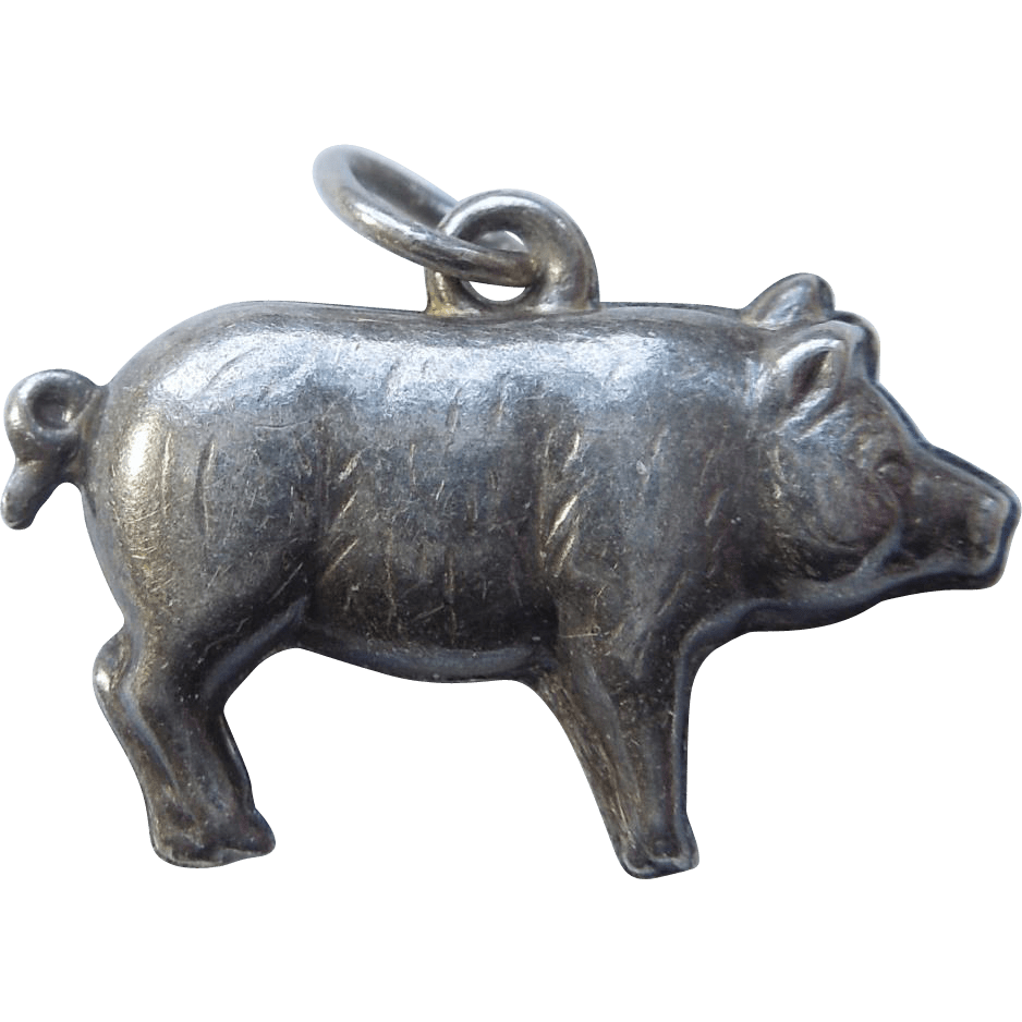 Sterling Silver Puffy Pig Charm -big- Ruby Lane