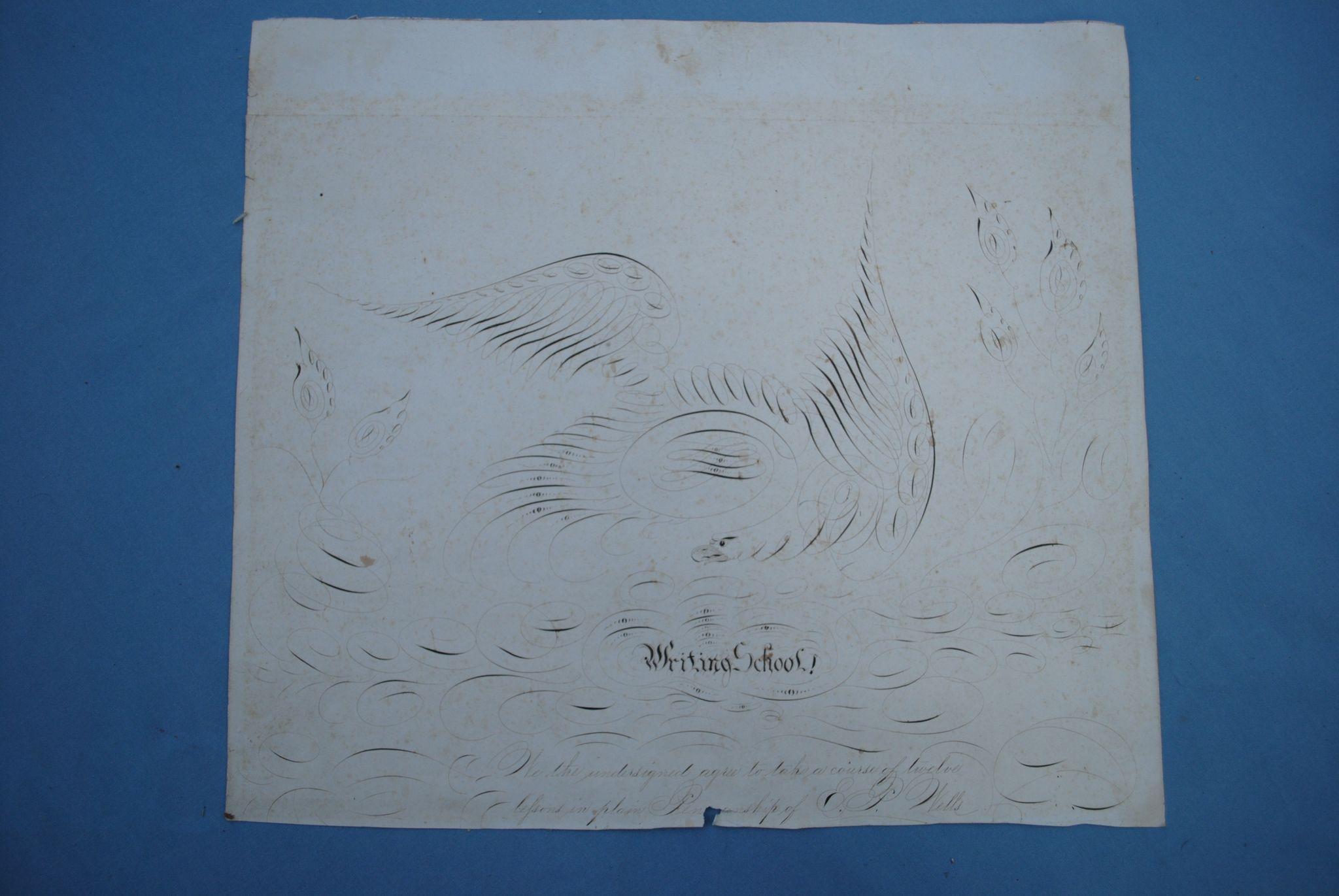 Folk Art Calligraphy Of Eagle 19th . American