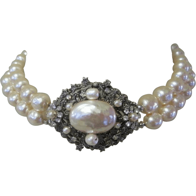 Miriam Haskell Faux Baroque Pearl 2 Strand Necklace Rhinestone From Lakegirlvintage On Ruby Lane