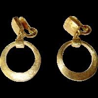 Vintage Gold Hoop Earrings, Monet, Articulated from ...