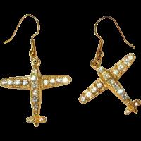 Rhinestone Airplane Earrings, Vintage from lakegirlvintage ...