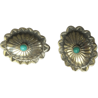 Sterling Silver Concho Earrings, Vintage Native American ...