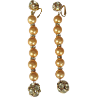 Vintage Rhinestone Shoulder Duster Earrings, Glass Pearls ...