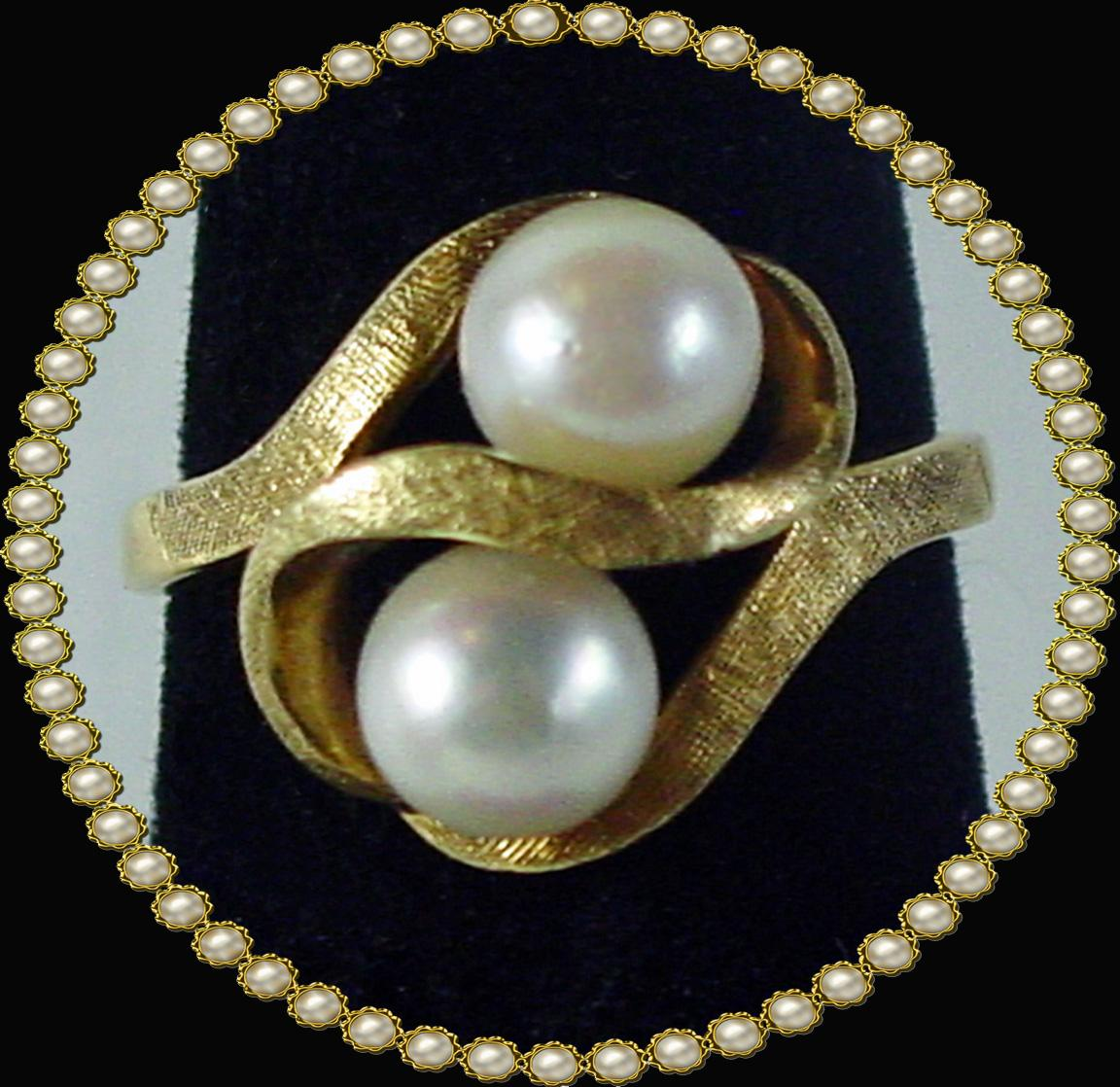 1950' 14k Yellow Gold Cultured Pearl Ring Size 4.75 4sot Ruby Lane