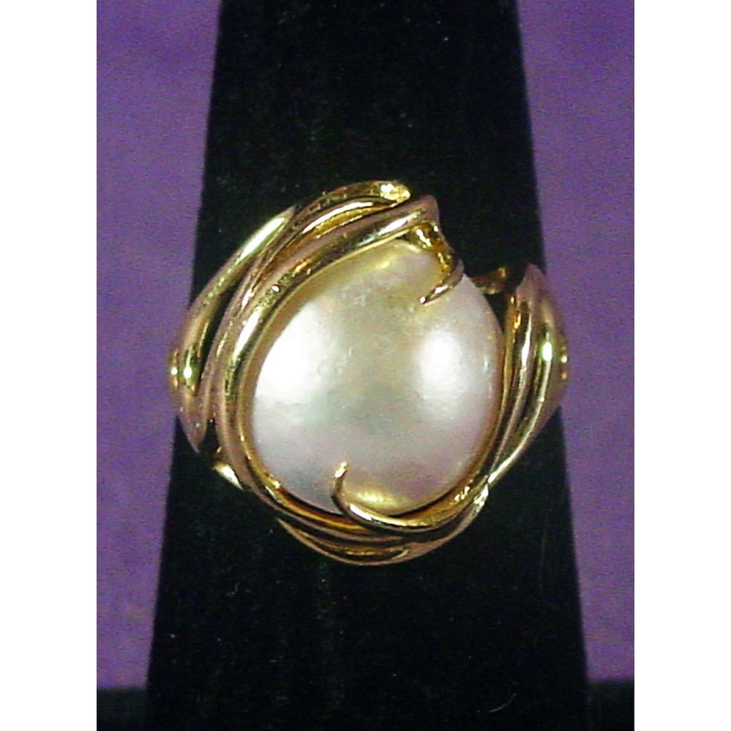 14k Yellow Gold Mabe Cultured Pearl Ring Size 6.75 4sot Ruby Lane