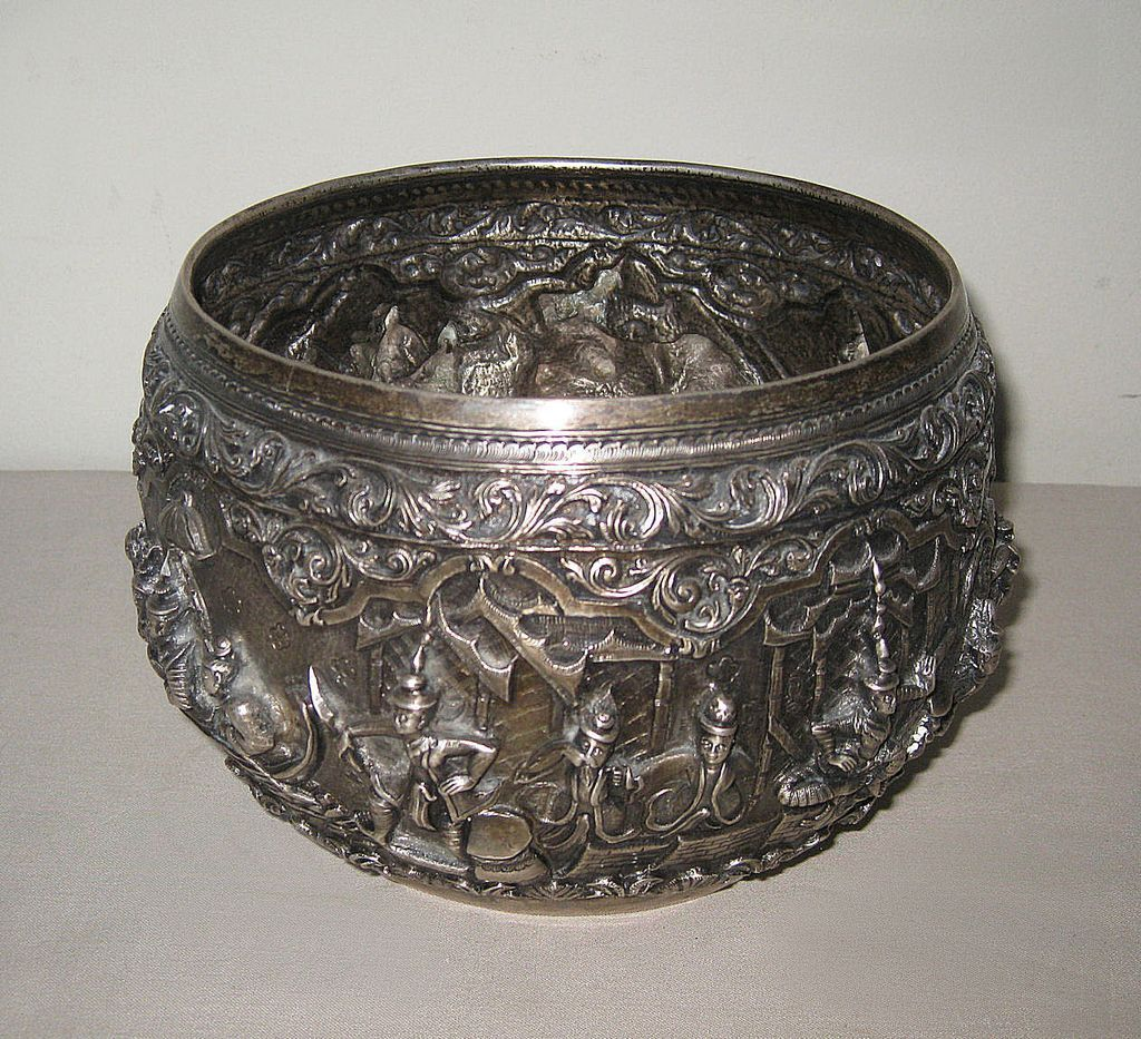Antique Burmese Repouss Silver Bowl