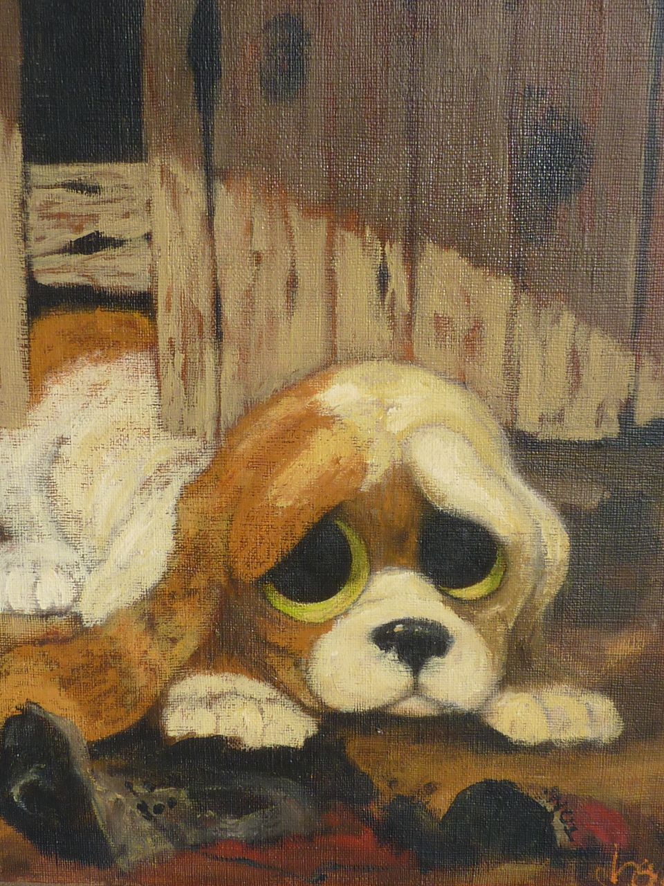 Dog Art Adorable Big Eye Puppy Oil Painting 1960' Dg