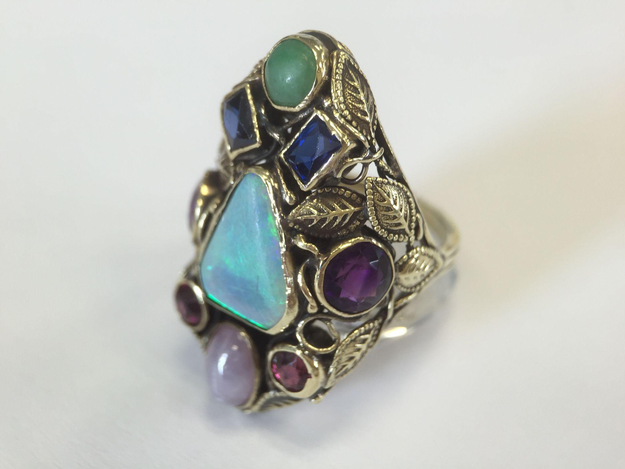 14k Large Gemstone Ring From Smallfinds Rl On Ruby Lane