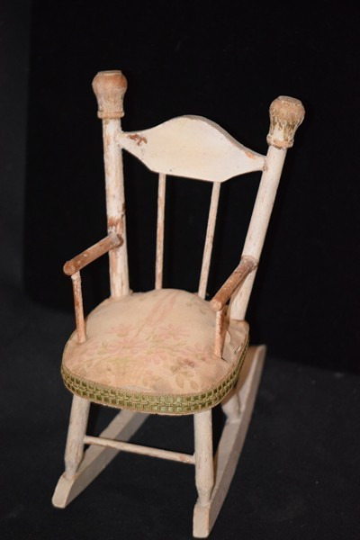 Antique Doll Chair Wood Rocking Chair Old Padded Seat Old