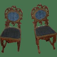 Antique Doll Miniature Furniture Ornate Wood Upholstered ...