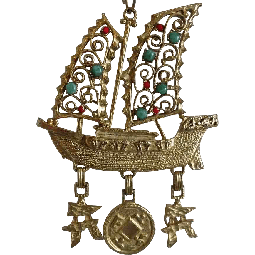 Juliana DE Asian Themed Junk Boat Ship Faux Jade Coral