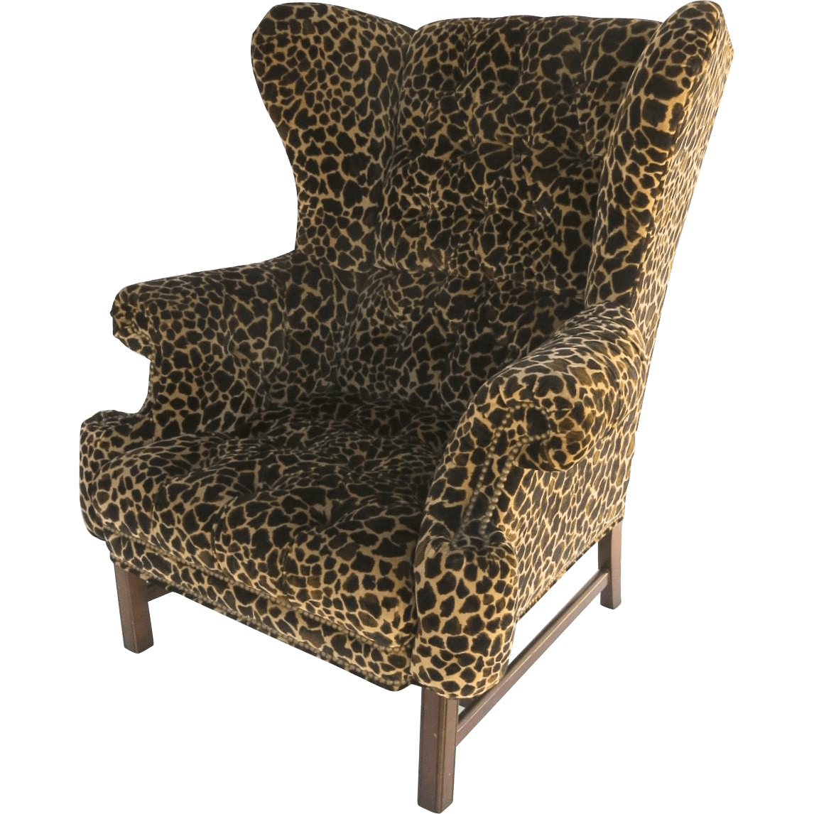 Cheetah Chair Large Scale Vintage Wing Chair With Straight Legs And