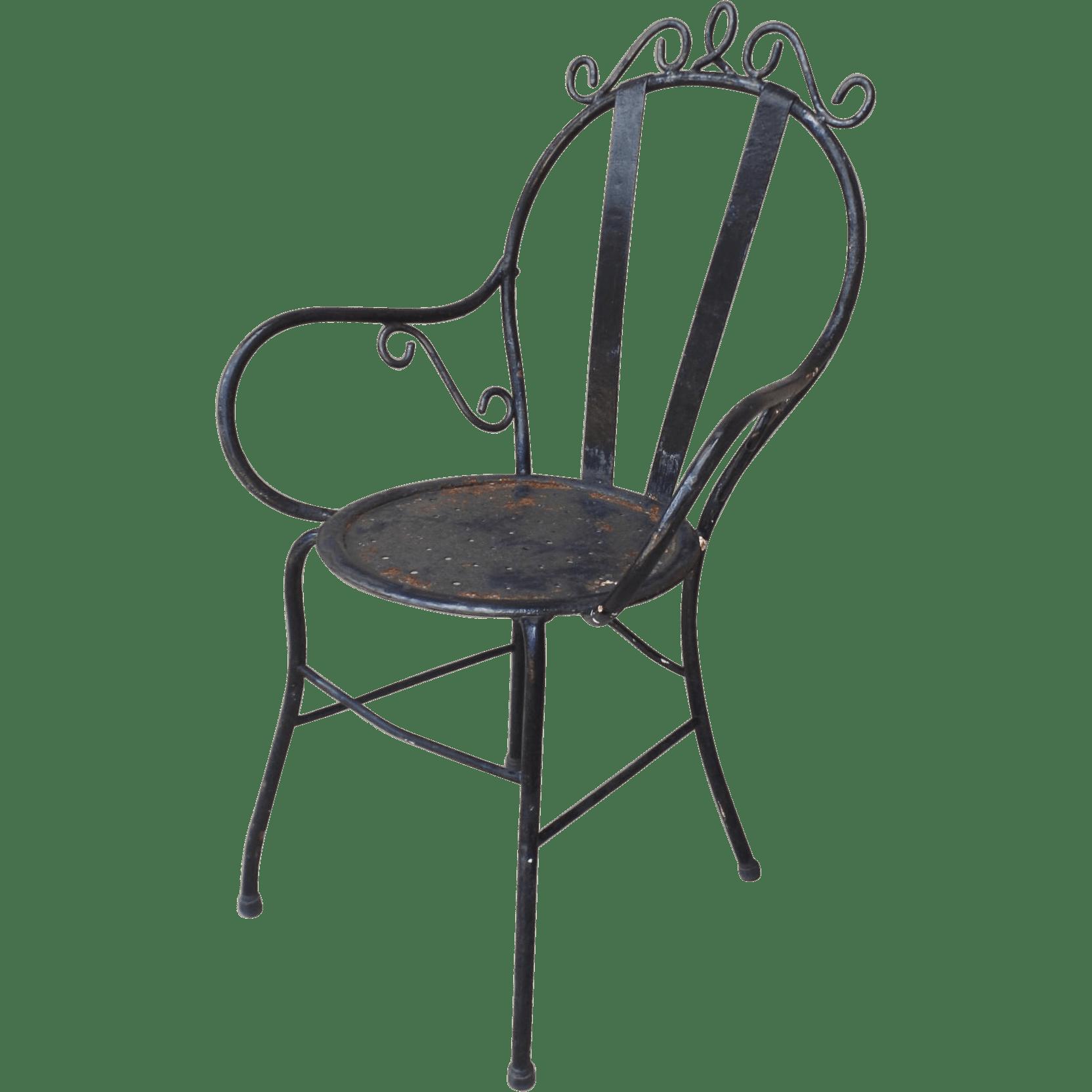 vintage wrought iron chairs dark blue velvet accent chair garden bistro arm from