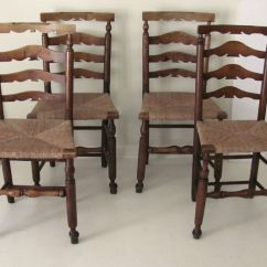 How To Rush A Chair Slide Under Table Set Of 4 English Ladderback Country Chairs Seat