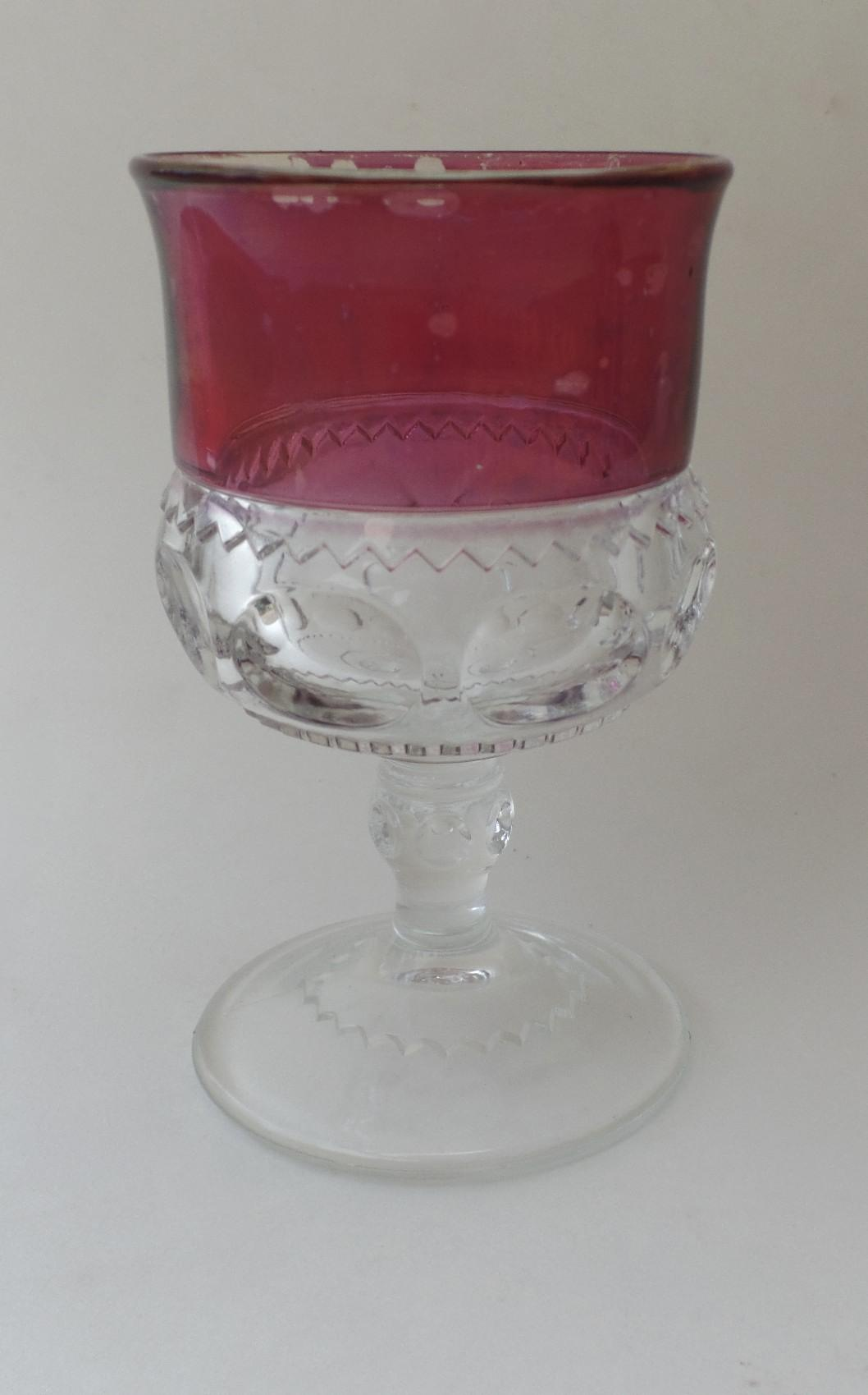 Vintage Red Clear Stemmed Wine Glass From Blacktulip On