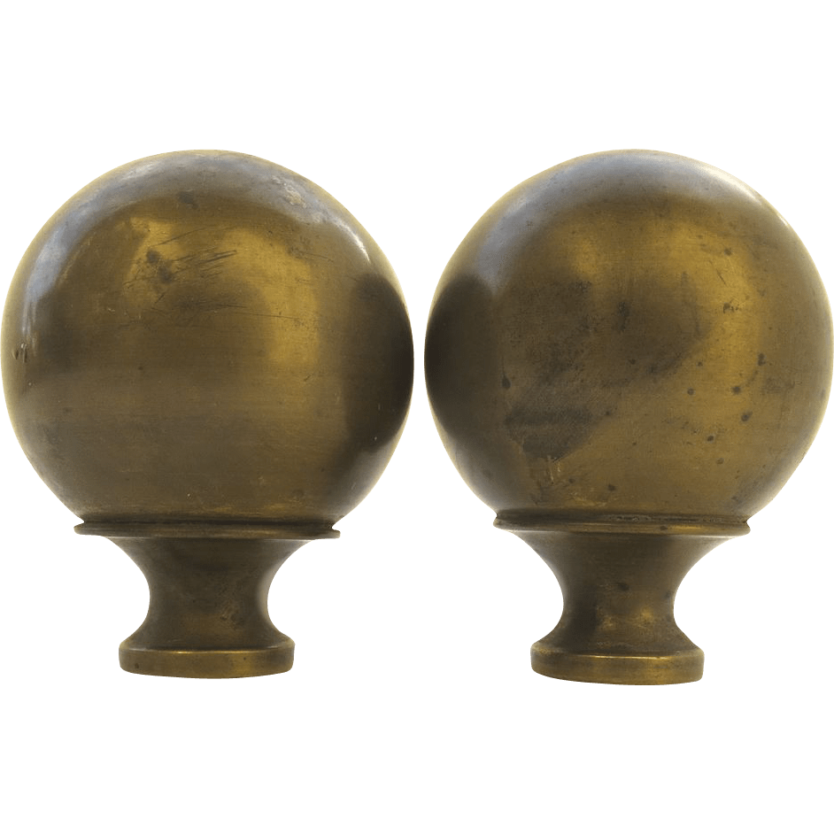 Pair Of Vintage Ball Brass Bed Finials From Blacktulip On
