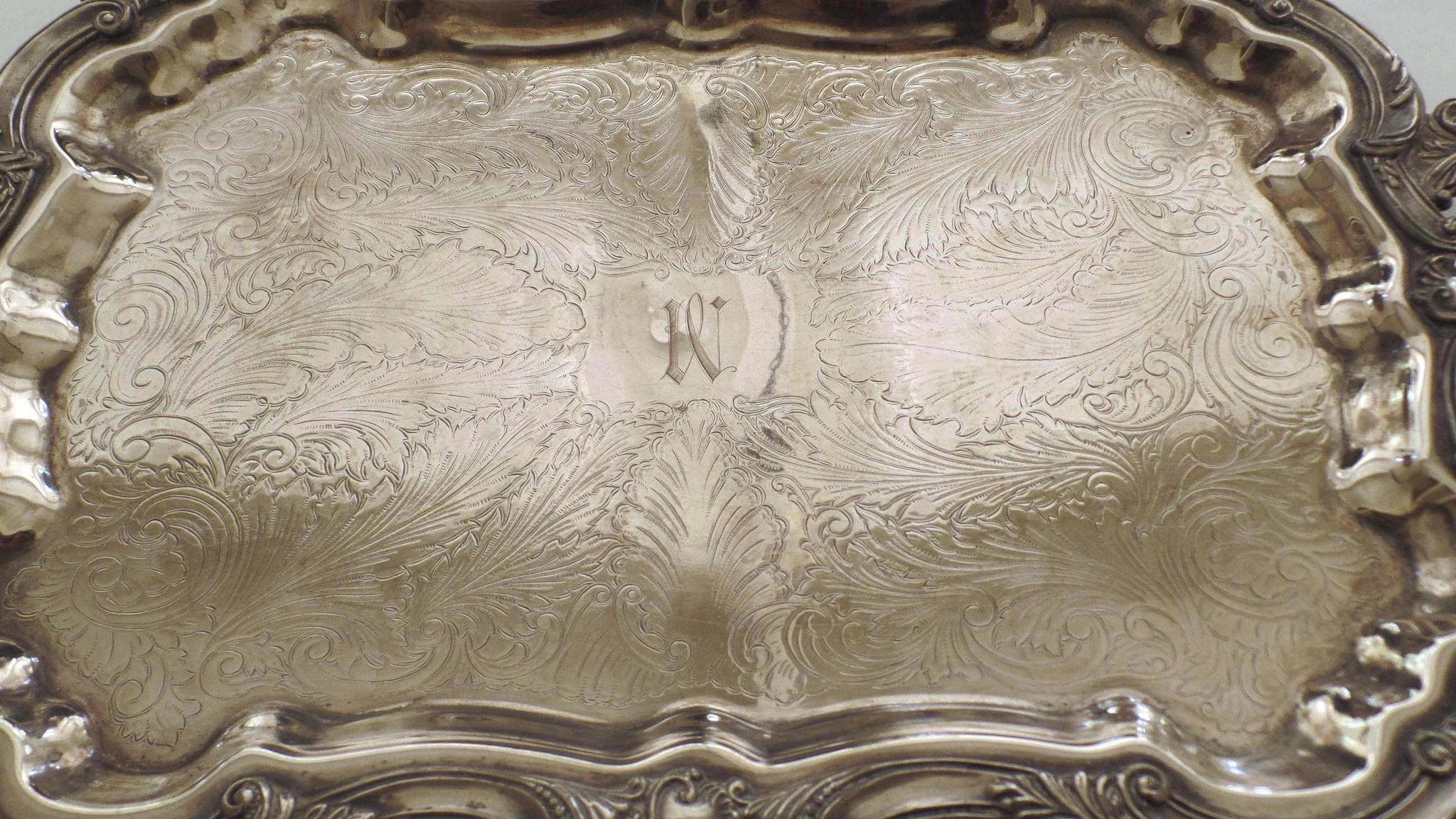 Vintage Large Serving Tray Footed Handles Silver On Copper