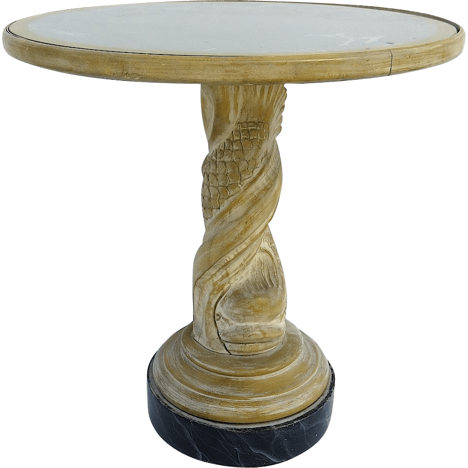 Vintage Dolphin Pedestal Table With Fuax Marble Base