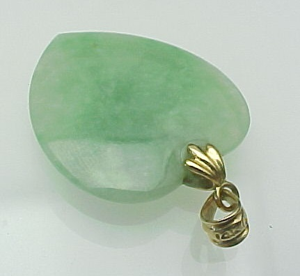 Vintage 14K Gold Carved Jade HEART Pendant From Rubylane