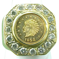 Vintage 1852 Gold Coin Ring ~ Diamond Bezel ~ from ...