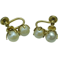 Vintage 12K Gold filled Double Pearl Screw Back Earrings ...