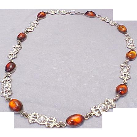 Vintage Sterling Silver Transparent Baltic Amber Decorative Necklace From Kingdavidstreasures