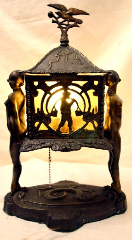 Antique Bronzed Art Deco Nude Women Chinoiserie Lamp