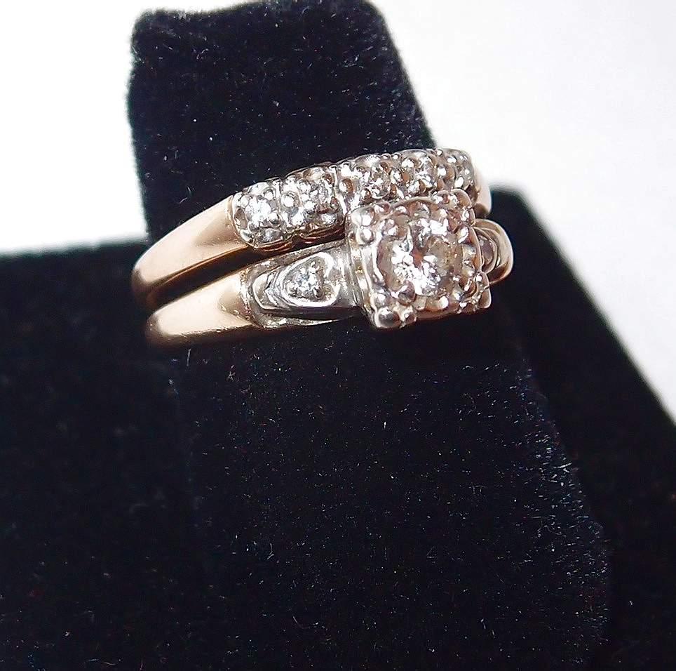 1940s Yellow Gold Wedding Ring Set With Diamonds